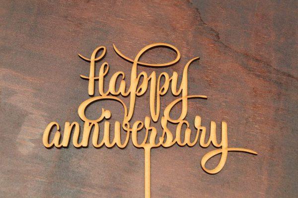Happy Anniversary - Cake Topper - Design 2 1